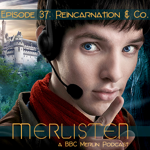 Merlin holds a finger up to his mouth as if to shush you. He's wearing headphones. The episode title and the podcast's name are on the cover.
